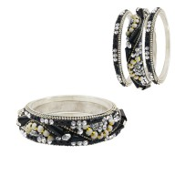 Unique Set Of 6 Metal Bangles With Kada Set Of Women (Black Color)