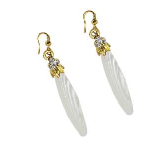 Partywear Fish Hook Design  Earrings- White