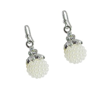 Silver Plated White Earrings