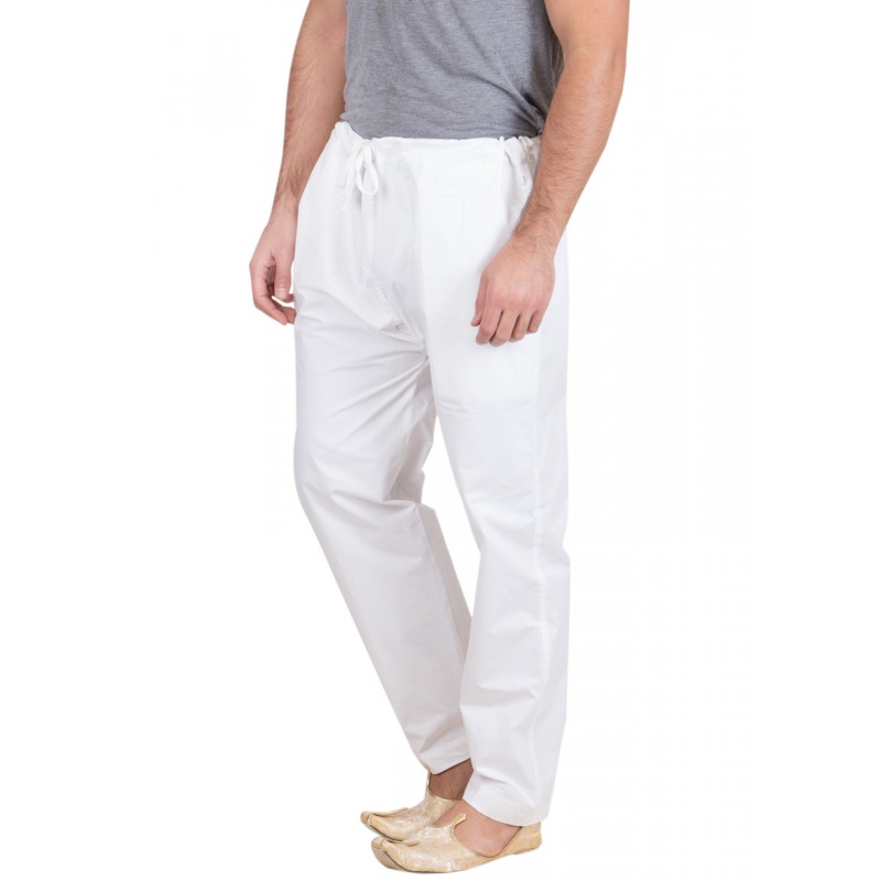 Mens Pajama Online In India White Colored In Cotton